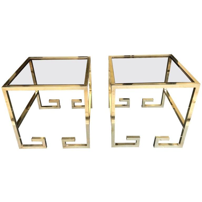 Pair of Brass Greek Key Design Side Tables