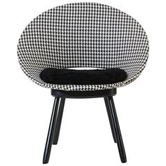 Swedish Chair, 1950s, Houndstooth Pattern with Sheepskin Seat