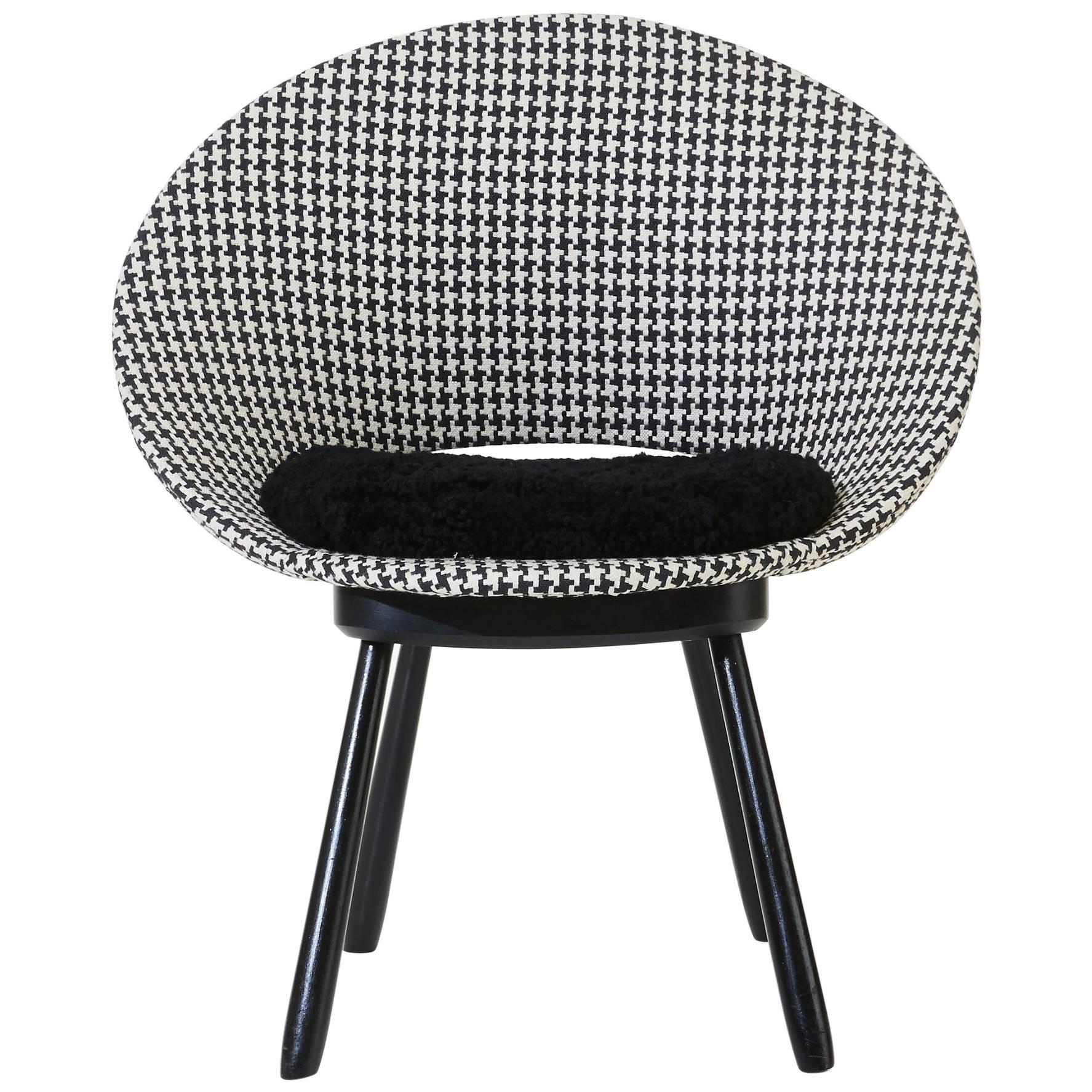 Swedish Chair, 1950s, Houndstooth Pattern With Sheepskin Seat For Sale