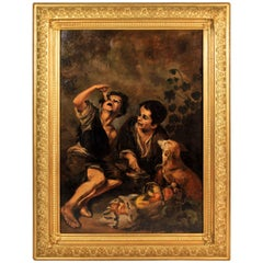 "Oil on Canvas Reproduction of B.E. Murillo´S famous ""Kuchenesser"", circa 1900"
