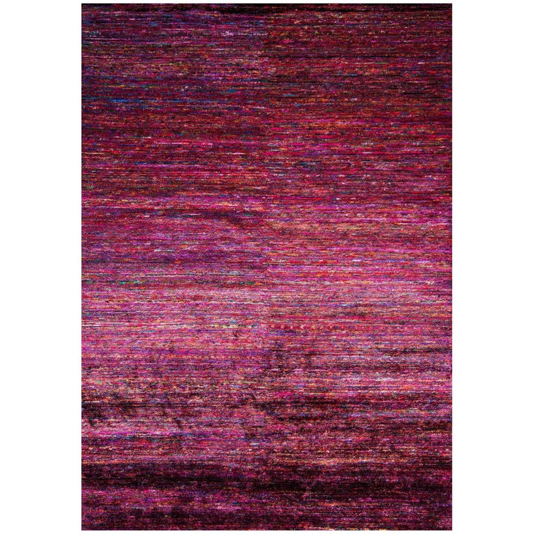 Recycled Sari Silk Multicolored Area Rug