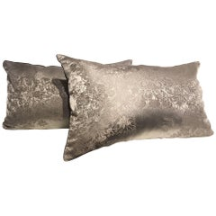 Silk Cushions Jacquard Floral Pattern Colour Silver Grey