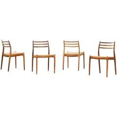 Set of Four Old Niels Moller Møller Moeller Dining Chairs Mod. 78, Denmark