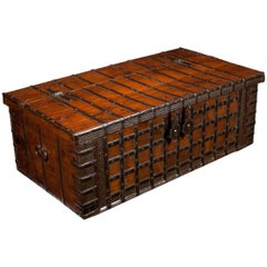 Early 19th Century Elm Anglo-Indian Iron Strapped Chest Trunk