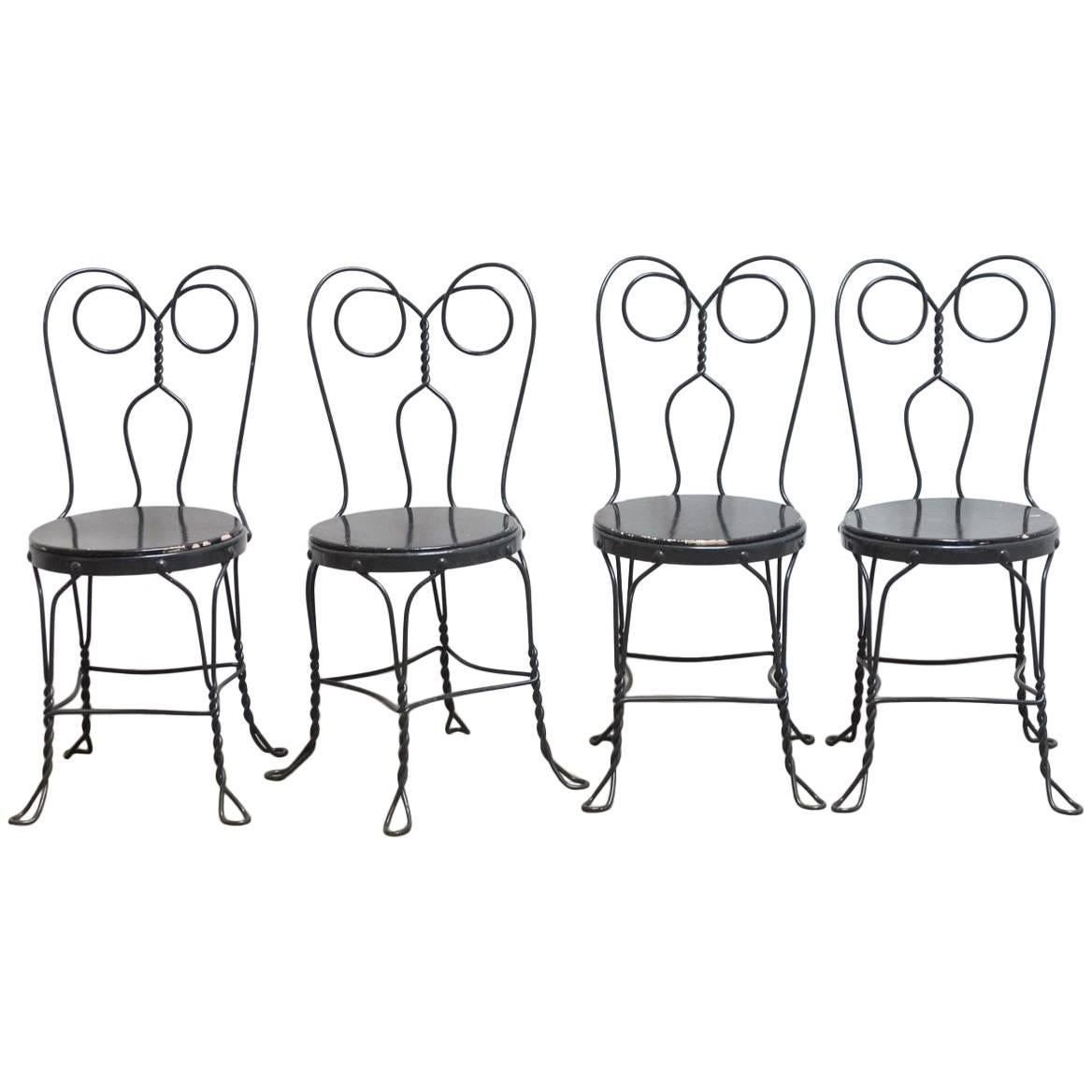 art nouveau dining room chairs 34 for sale at 1stdibs Art Deco of the 1920 S set of four metal bistro or ice cream parlor chairs