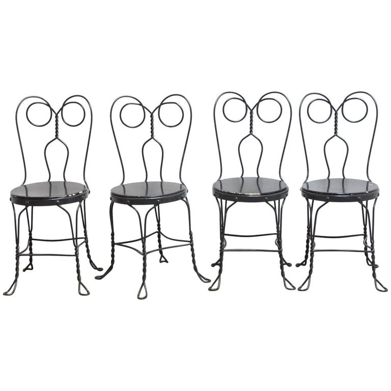 Set Of Four Metal Bistro Or Ice Cream Parlor Chairs For
