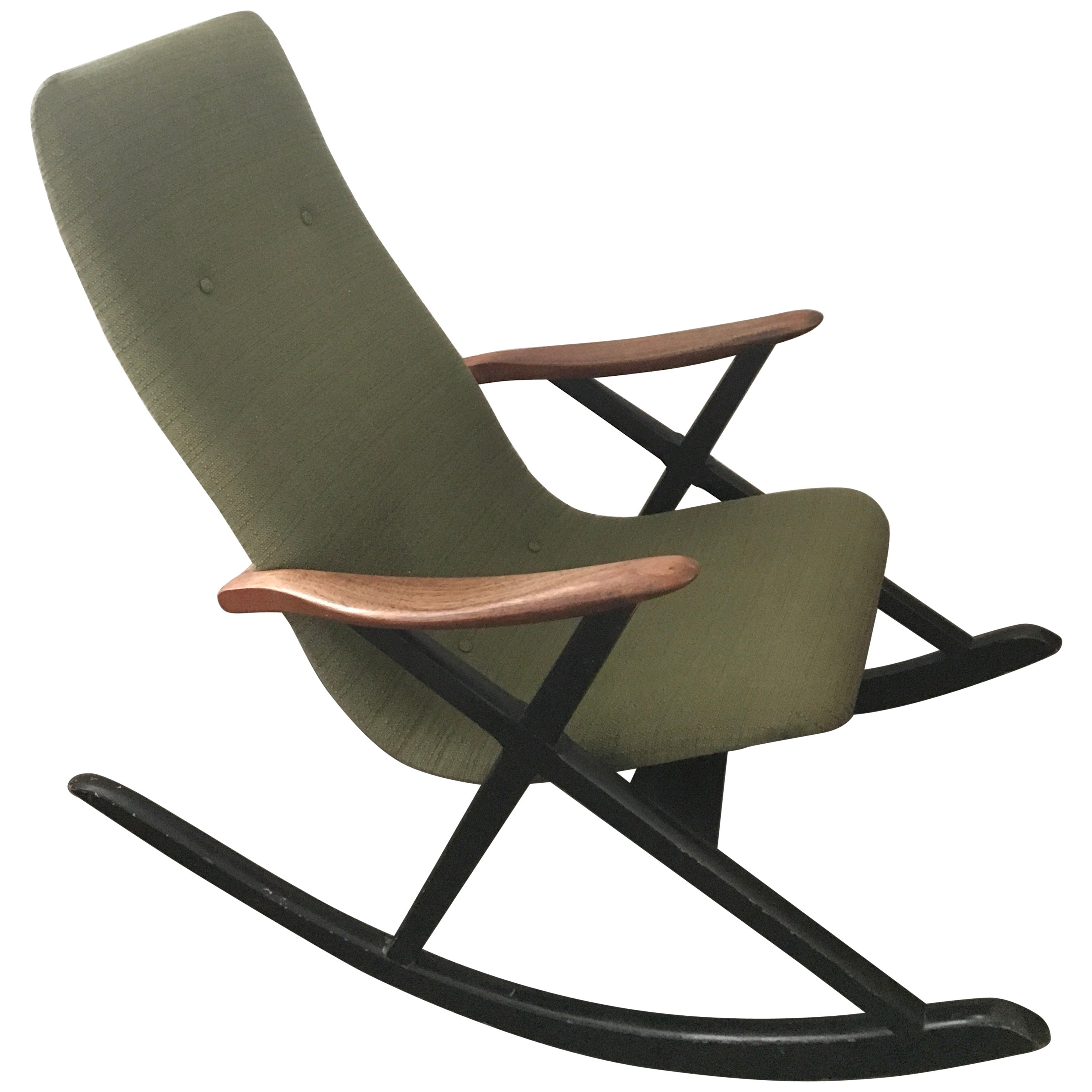 Swedish Or Danish 1950 Designer Rocking Chair In Original Condition