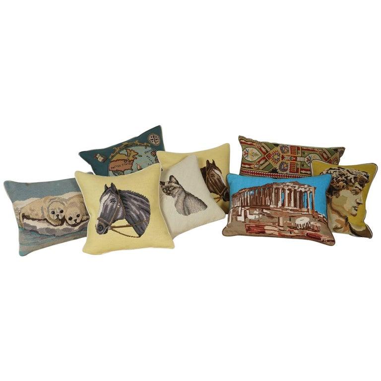 Assortment of Vintage Needlepoint Pillows