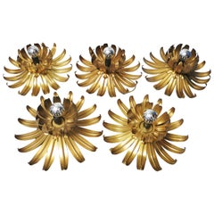 Set of Metal Gilt Flower Wall Lamps, 1970