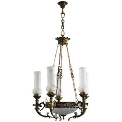 Early 20th Century Empire Style Bronze Etched Glass Seven-Light Chandelier