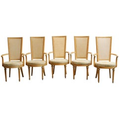Set of Five Louis XVI Style Caned Armchairs