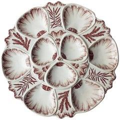 Rare Brown Faience 19th Century Oyster Plate Vieillard Bordeaux