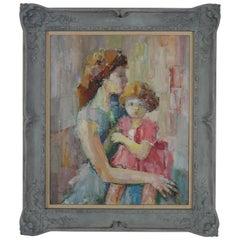 """Albert Coll, """"Maternite"""" Oil on Canvas"""