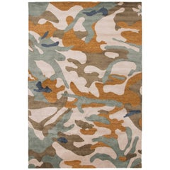 Camouflage Rug Wool with Gold Metallic Thread