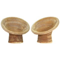 Pair of Old Wicker Lounge Chairs by Egon Eiermann for Heinrich Murmann, Germany