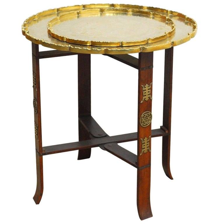 Asian Folding Brass Tea Tray Table or Drinks Table