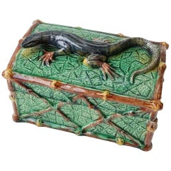 Majolica Palissy Lizard Box Saint Honore Les Bains, circa 1880