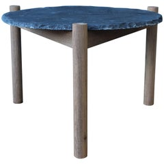 Slate Top Table with Teak Base, in the Style of Pierre Jeanneret