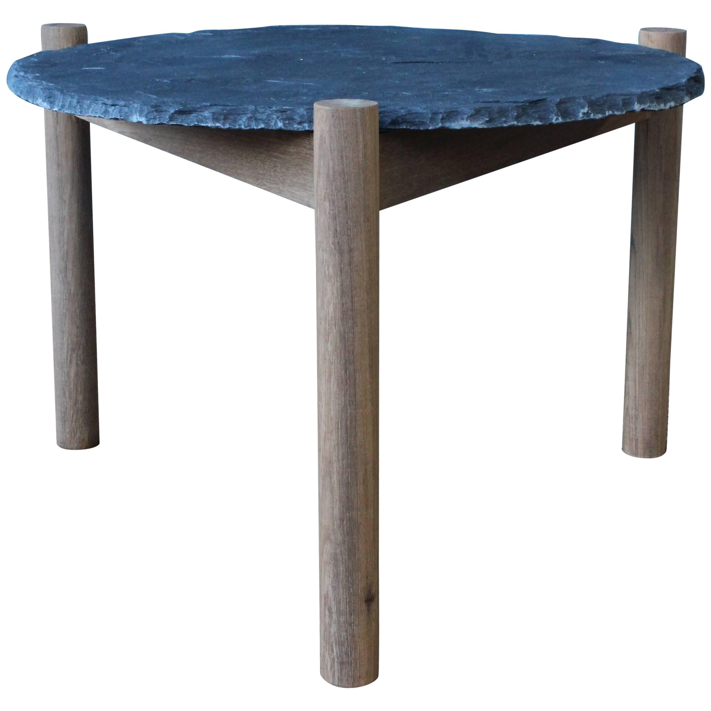 Slate Top Table With Teak Base, In The Style Of Pierre Jeanneret For Sale