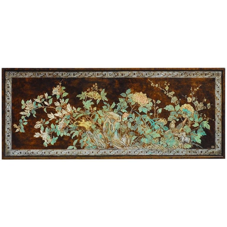 Chinese Floral and Foliate Painted Relief Panel