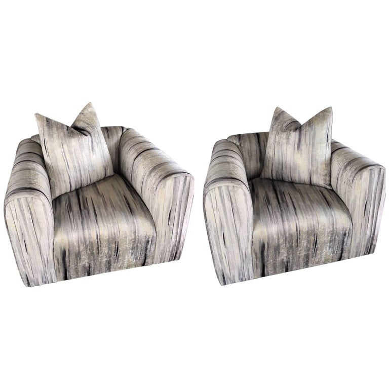 Pair of Vintage Modern Club Chairs in Abstract Watercolor Velvet