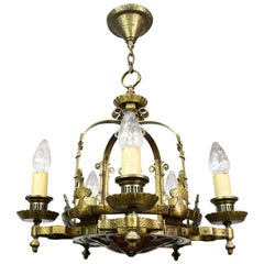 Gothic Revival Five Candle Chandelier with Mica Bowl