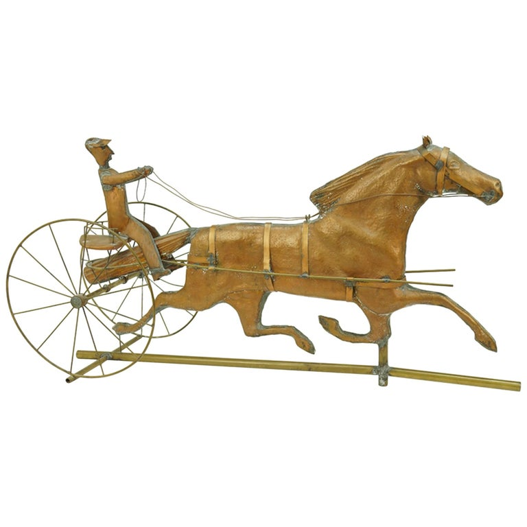 Copper and Brass Horse and Sulky Weathervane, Great Piece of Folk Art
