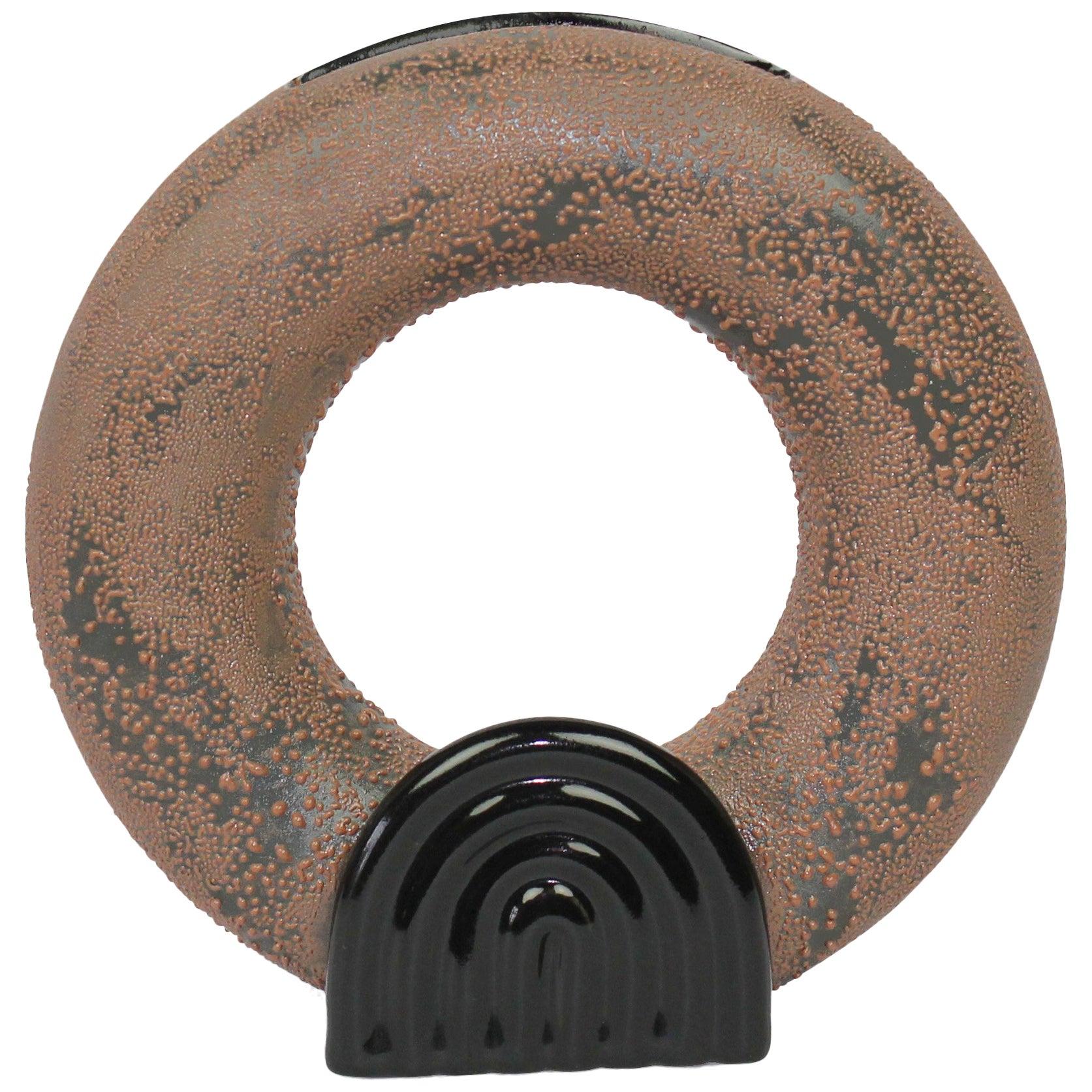 Contemporary Circular Brown Dew Vase Vessel Ikebana Ceramic and Glaze, Handmade