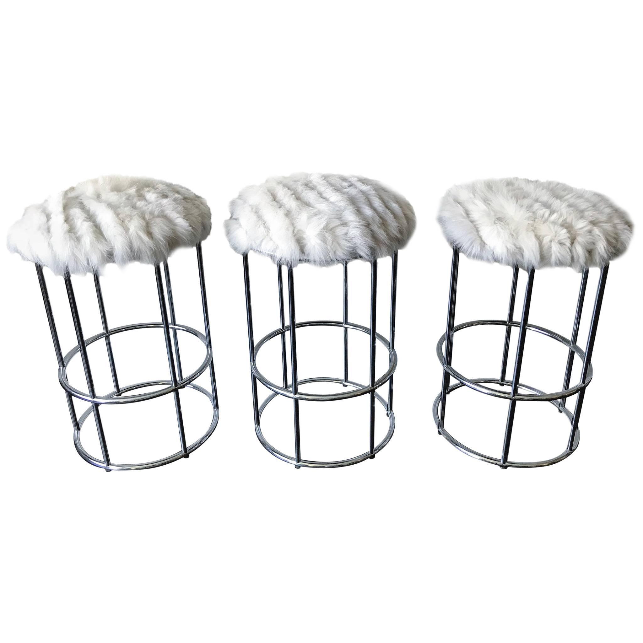 three vintage chrome tubular bar stools in fox fur for sale at 1stdibs 1970s Basement Decor