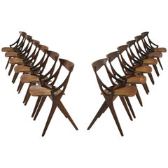 Arne Hovmand-Olsen Dining Set of 12 Chairs for Mogens Kold in Teak