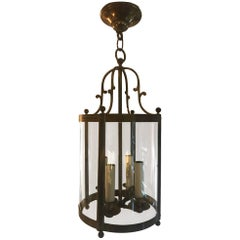 Bronze Metal and Glass Century Lantern, French, circa 1940s