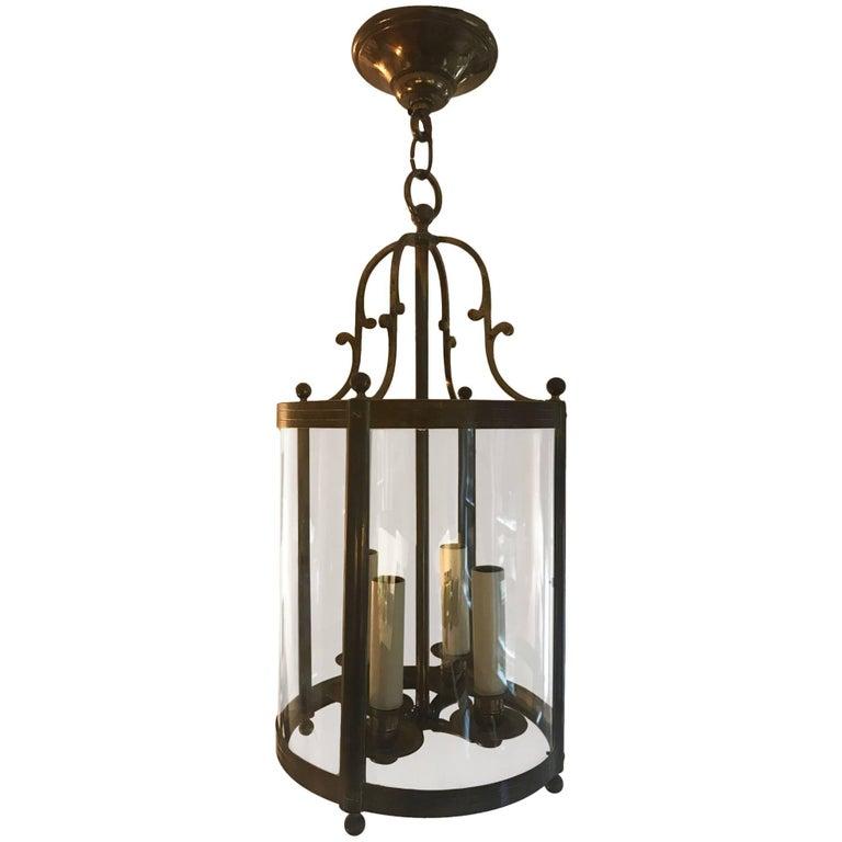 Bronze Metal and Glass Century Lantern, French, circa 1940s