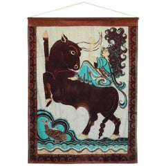 Javanese Style African Batik Painting of Europa and the Bull