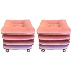Pair of Custom Pink Velvet Gradient Cushion Stools with Rolling Brass Feet