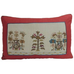 19th Century Turkish Embroidered Linen and Silk Lumbar Decorative Pillow