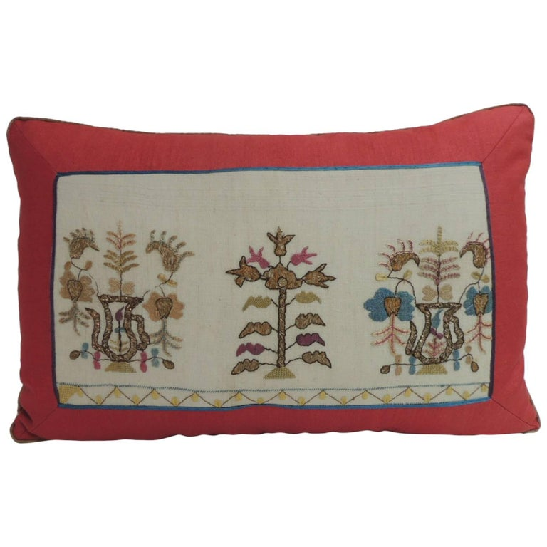 19th Century Turkish Embroidered Linen and Silk Lumbar Decorative Pillow For Sale