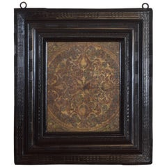 Tooled Leather Panel in Italian, Lombardia, Baroque Guilloche Ebonized Frame
