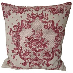 Pretty Red and Pink Floral Linen Pillow Antique French c.1920