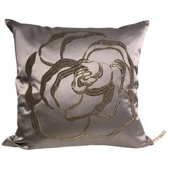 Silk Cushion Modern Rose Hand Embroidery Silver Beading on Satin Ice Blue