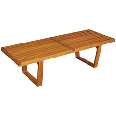 Brazilian Pau Marfim and Caviúna Slatted Bench or Coffee Table