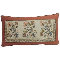 19th Century Turkish Embroidered Linen and Silk Decorative Lumbar Pillow