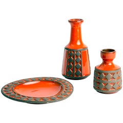 Set of Three Frank Keramik Denmark Red Glazed Ceramics