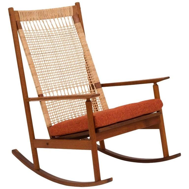 Hans Olsen Teak and Cane Rocking Chair