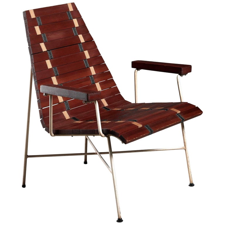 Rare Mid-Century Modern Chair in Oregon Pine and Metal, USA, 1950s