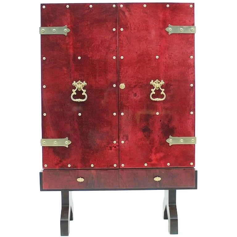 Illuminated Dry Bar by Aldo Tura In Red Goatskin, Italy, 1960s For Sale