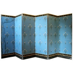 French Directoire Double Sided Six Panel Papered Room Screen Blue with Gold