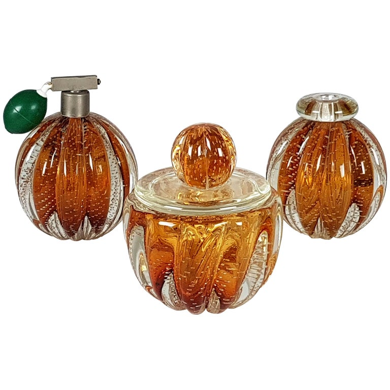 Italian Murano Sommerso Glass Vanity Boxe and Accessories by Seguso, 1940s