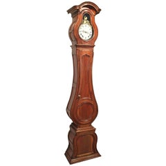 18th Century French Louis XV Carved Walnut Tall Case Clock with Rooster