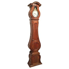 18th Century French Louis XV Carved Walnut Tall Case Clock from Lyon