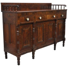 Antique American Empire Sideboard Buffet Crotch Flame Mahogany, circa 1840